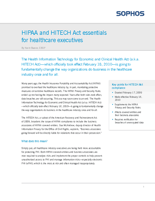 HIPAA & HITECH Act Essentials for Healthcare Executives
