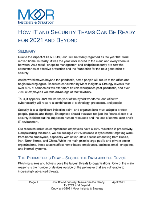 How IT and Security Teams Can Be Ready For 2021 and Beyond