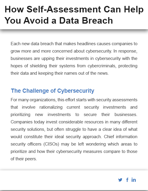 How Self-Assessment Can Help You Avoid a Data Breach