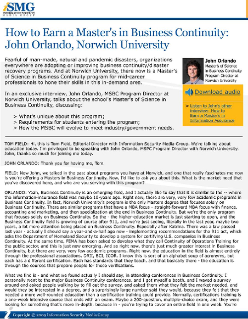 How to Earn a Master's in Business Continuity: John Orlando, Norwich University