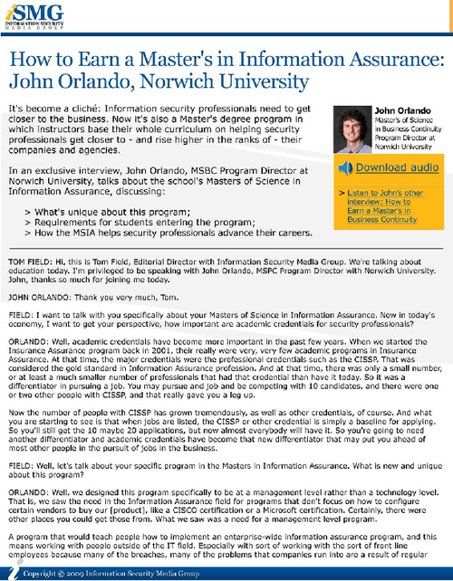 How to Earn a Master's in Information Assurance: John Orlando, Norwich University