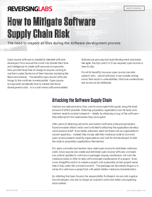 How to Mitigate Software Supply Chain Risk