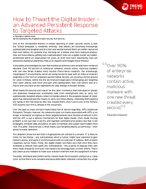How to Thwart the Digital Insider - An Advanced Persistent Response to Targeted Attacks