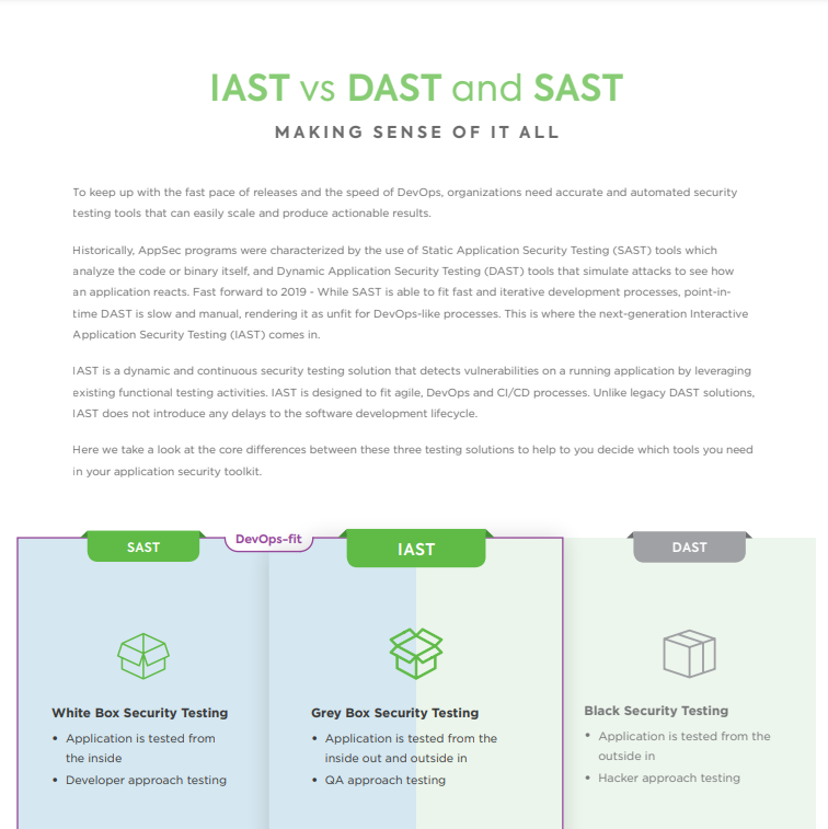 IAST vs DAST and SAST