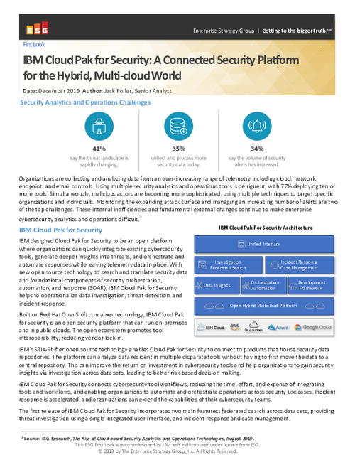 ESG Technical First IBM Cloud Pak for Security: A connected security platform for the Hybrid, Multi-Cloud world