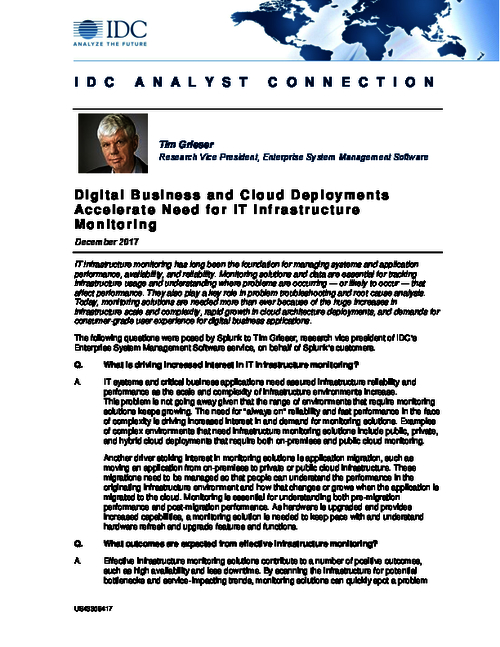 IDC Analyst Connection: Digital Business and Cloud Deployments Accelerate Need for IT Infrastructure Monitoring