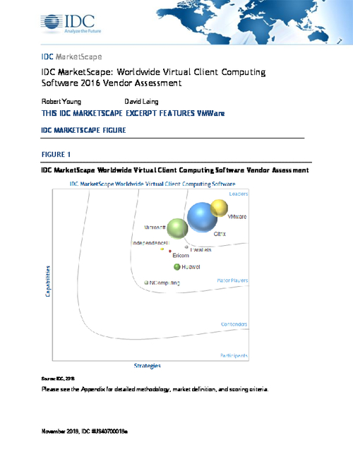 IDC MarketScape Report 2016 - VMware, a Leader for Virtual Client Computing