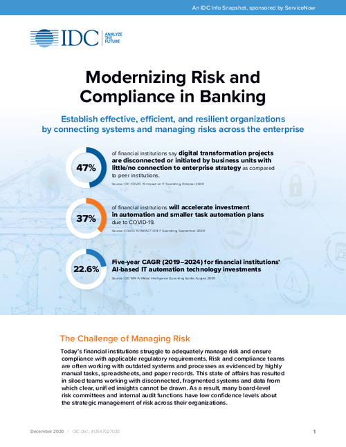 IDC Snapshot: Modernizing Risk and Compliance in Banking