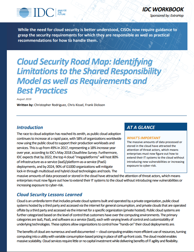 IDC Workbook: Best Practices for Cloud Security