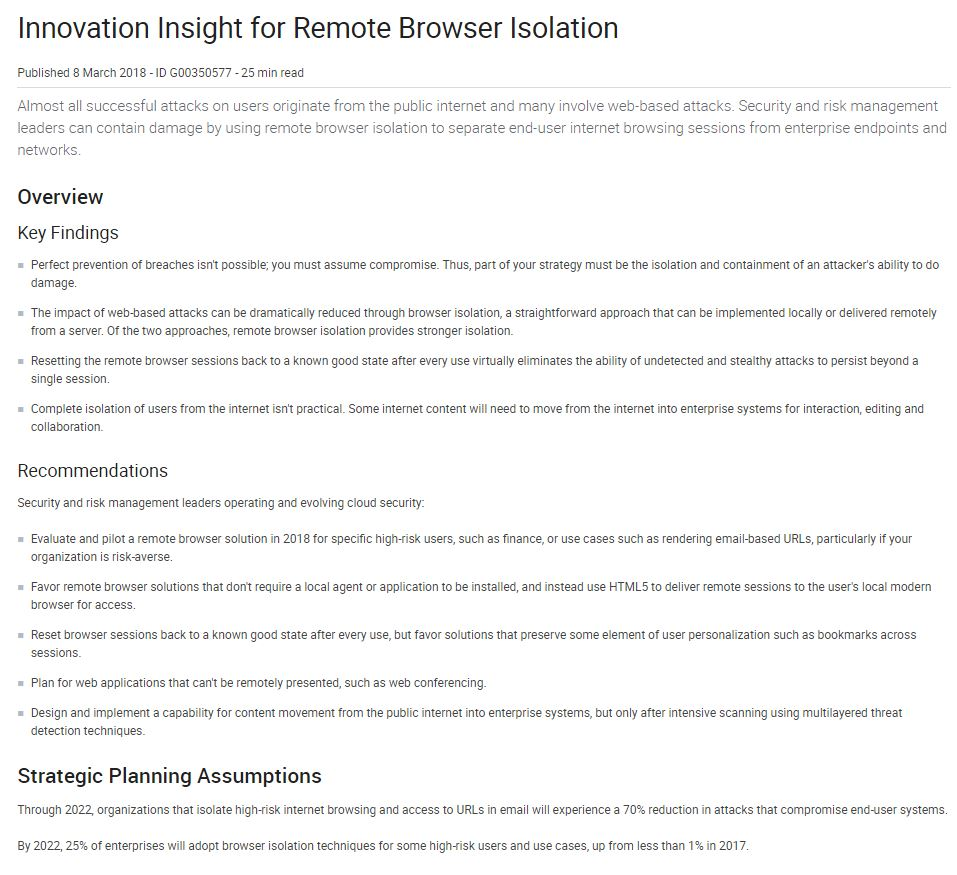 Innovation Insight for Remote Browser Isolation