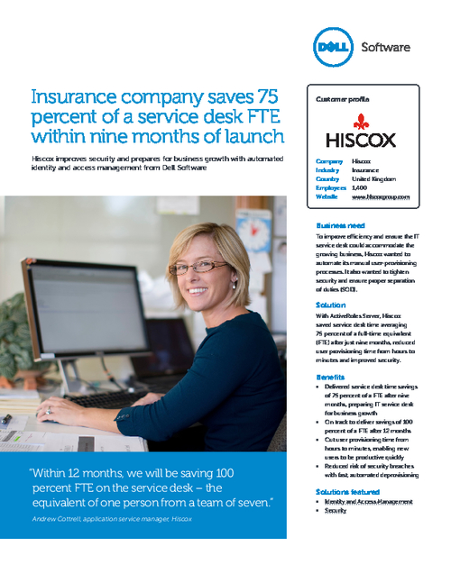 Insurance Company Saves 75 Percent of a Service Desk FTE Within Nine Months of Launch