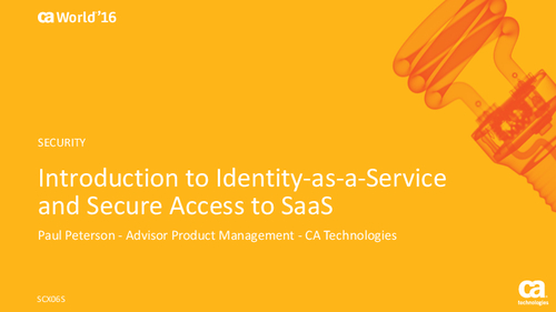 Introduction to Identity-as-a-Service and Secure Access to SaaS