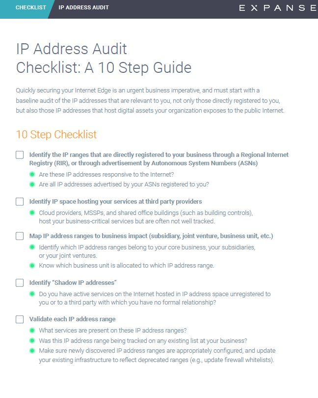 IP Address Audit Checklist: A 10 Step Guide