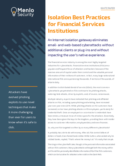 Isolation Best Practices Financial Services Institution