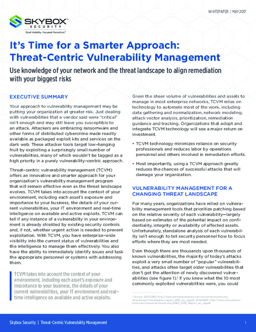 It's Time for a Smarter Approach: Threat-Centric Vulnerability Management