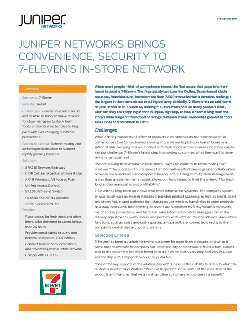 juniper networks brings convenience security to 7 eleven s in store network bankinfosecurity