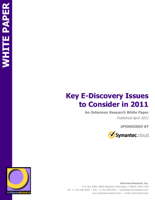 Key E-Discovery Issues to Consider in 2011