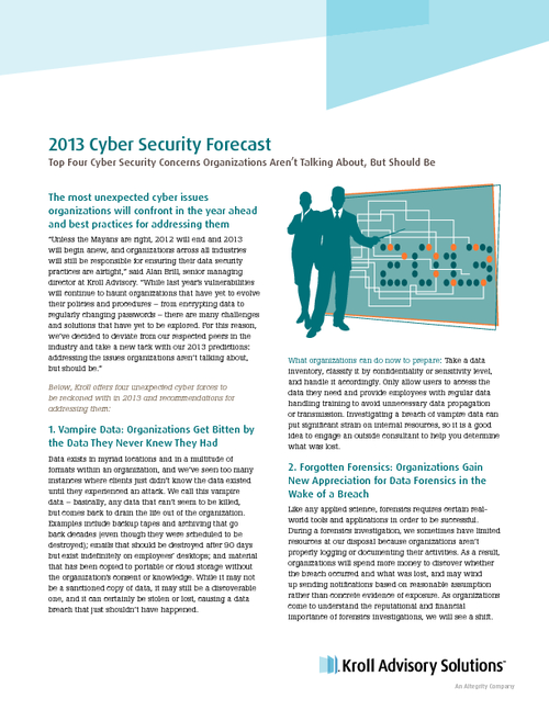 Kroll Advisory Solutions 2013 Cyber Security Forecast