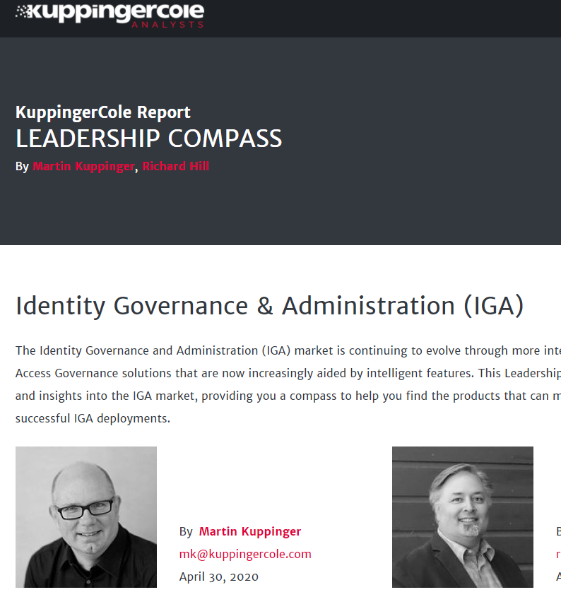 Kuppingercole Leadership Compass for Governance - IGA