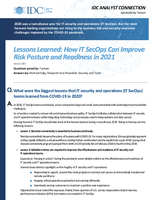Lessons Learned: How IT SecOps Can Improve Risk Posture and Readiness in 2021