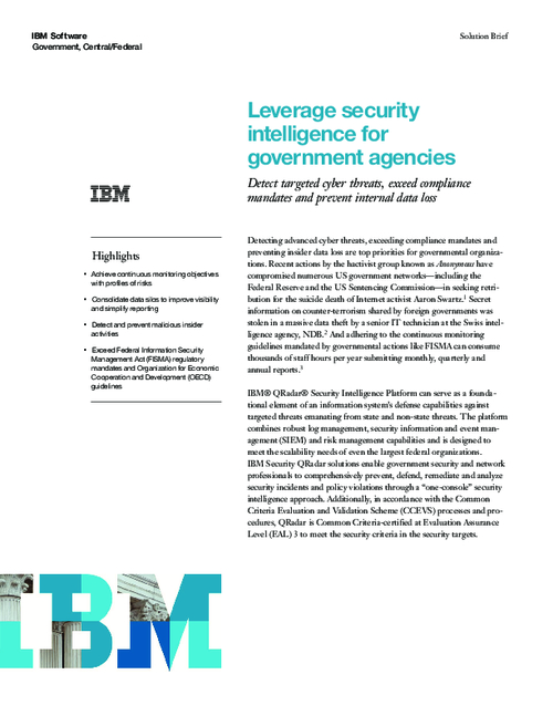 Leverage Security Intelligence for Government Agencies