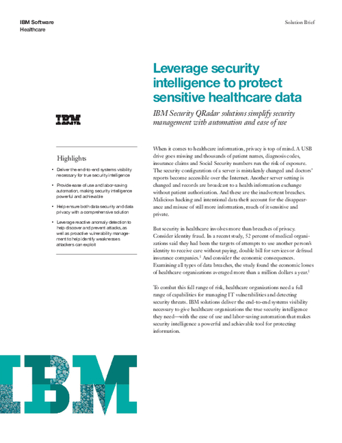 Leverage Security Intelligence to Protect Sensitive Healthcare Data