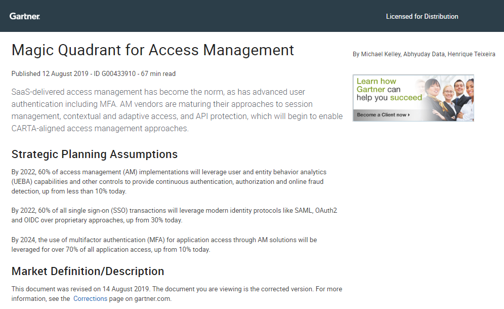 Gartner Report: Magic Quadrant for Access Management
