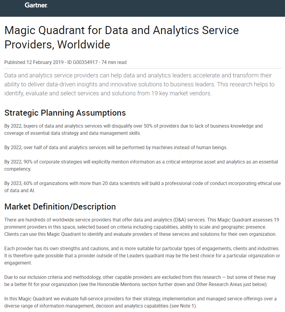 Gartner: Magic Quadrant for Data and Analytics Service Providers, Worldwide