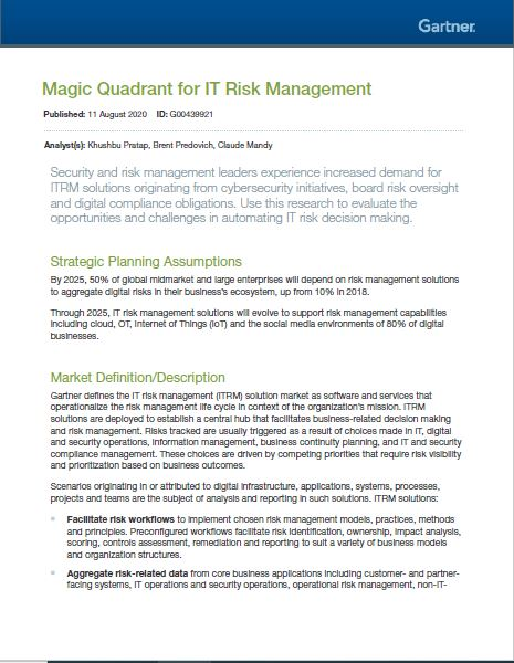 Magic Quadrant for IT Risk Management