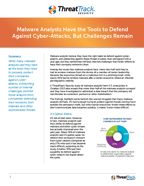 Malware Analysts Have the Tools They Need, But Challenges Remain