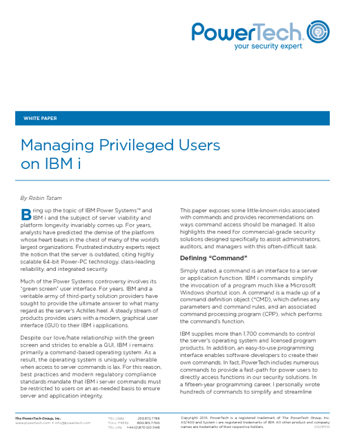 Managing Privileged Users on IBM i