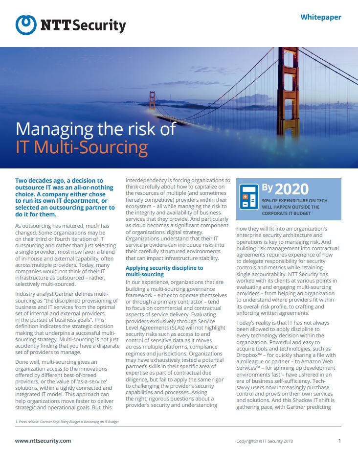 Managing the Risk of IT Multi-Sourcing
