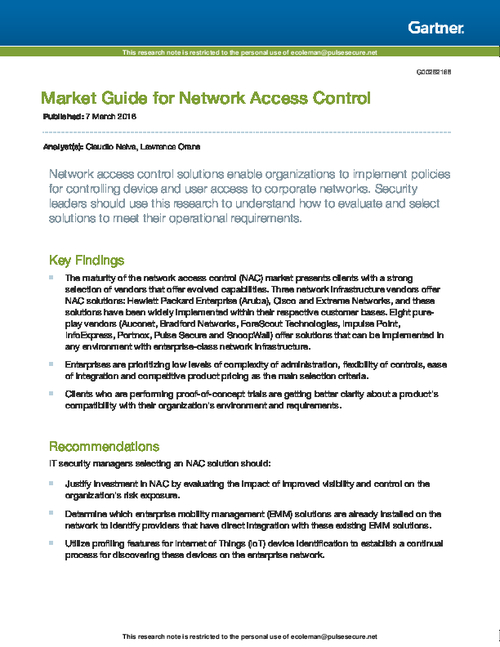 Market Guide for Network Access Control