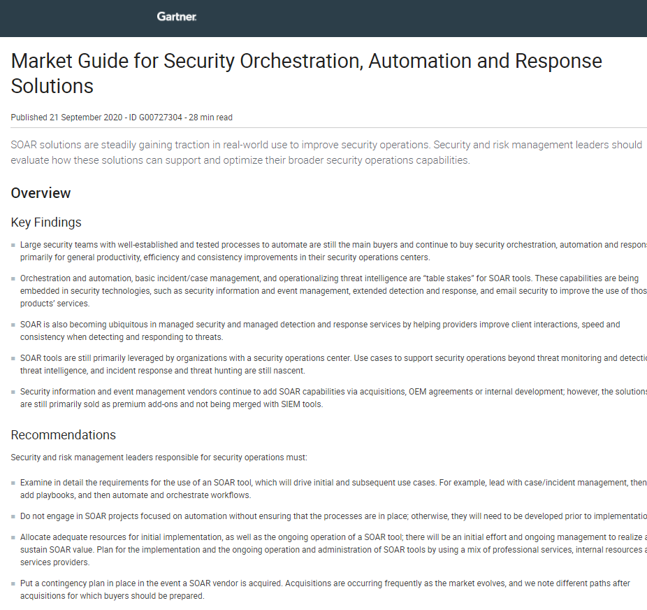 Market Guide for Security Orchestration, Automation and Response Solutions