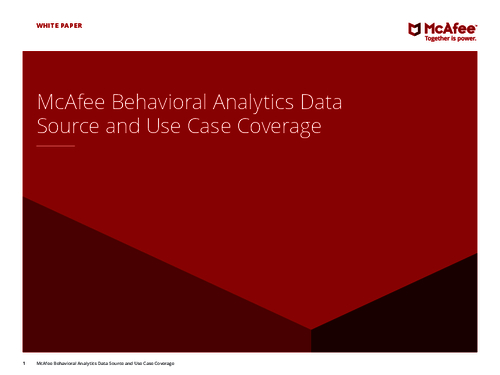 McAfee Behavioral Analytics Data Source and Use Case Coverage