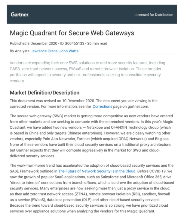 Menlo Security : 2020 Gartner Magic Quadrant for Secure Web Gateways (SWG)
