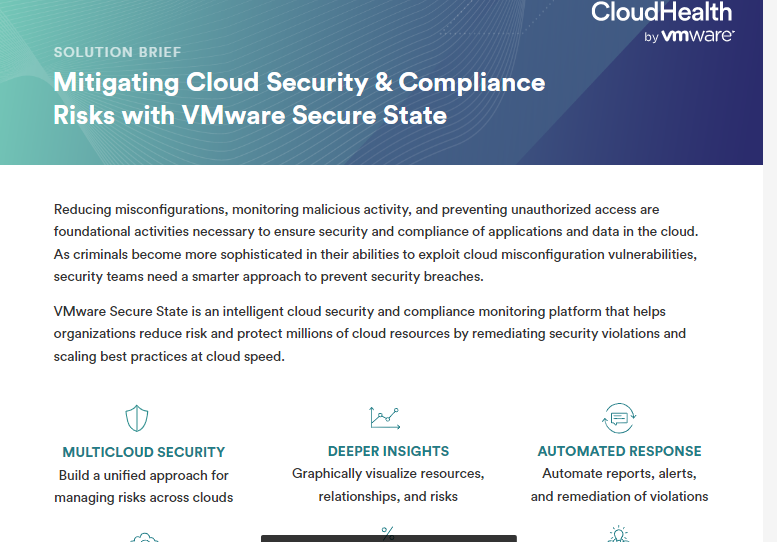 Mitigating Cloud Security & Compliance Risks with VMware Secure State