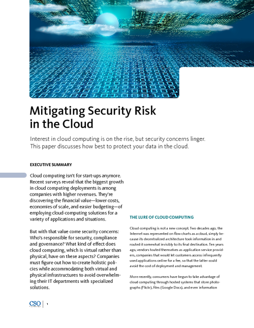 Mitigating Security Risk in the Cloud