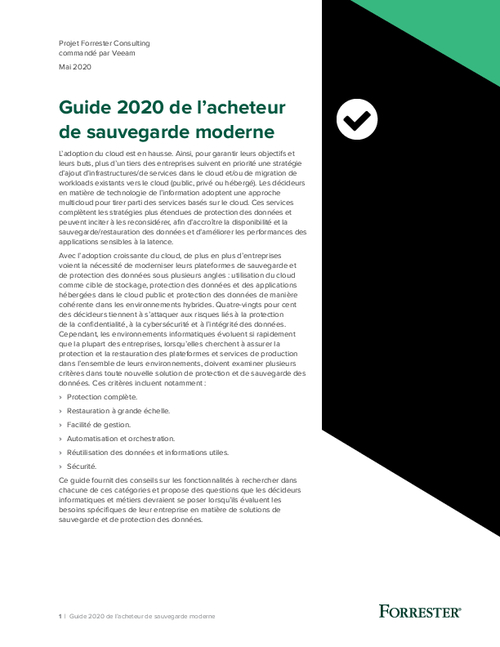 Modern Backup Buyers Guide 2020 (French Language)