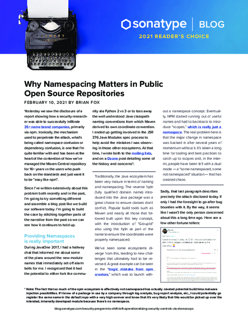 Why Namespacing Matters in Public Open Source Repositories