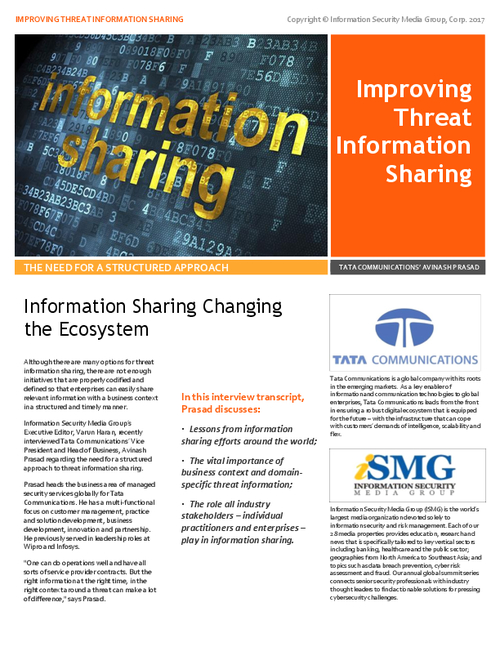 Threat Information Sharing: The Need for a Structured Approach