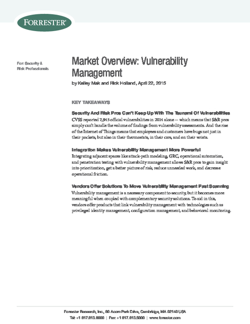 New Forrester Report on Vulnerability Risk Management