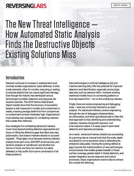 The New Threat Intelligence | How Automated Static Analysis Finds the Destructive Objects Existing Solutions Miss