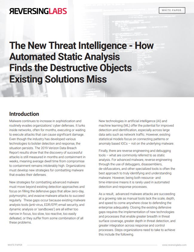 The New Threat Intelligence - How Automated Static Analysis Finds the Destructive Objects Existing Solutions Miss