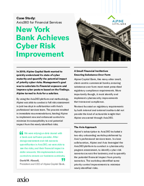 New York Bank Achieves Cyber Risk Improvement