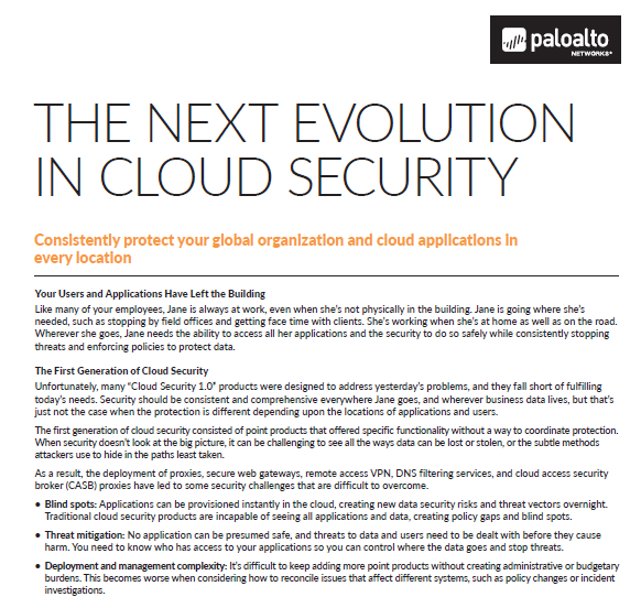 The Next Evolution in Cloud Security