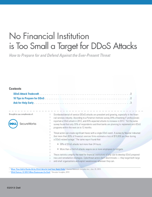 No Institution is Too Small a Target for DDoS Attacks