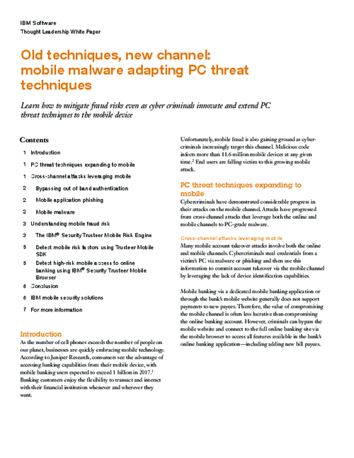 Old Techniques, New Channel: Mobile Malware Adapting PC Threat Techniques