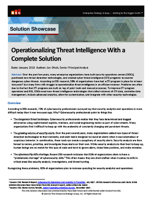 Operationalizing Threat Intelligence With a Complete Solution