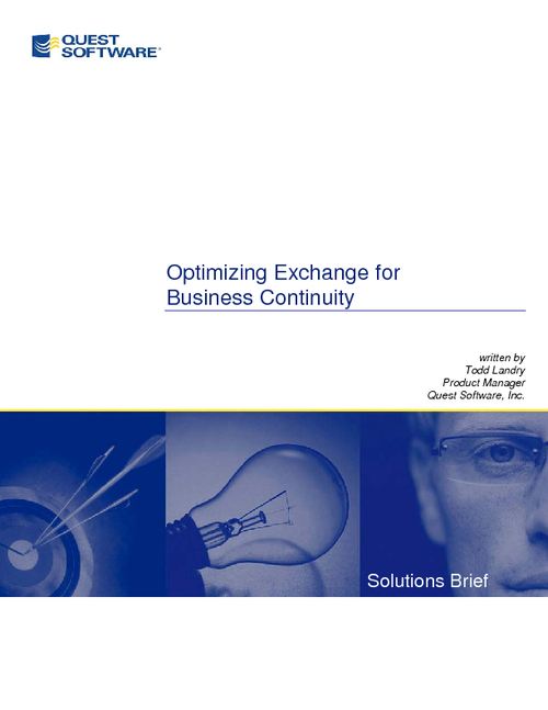 Optimizing Exchange for Business Continuity